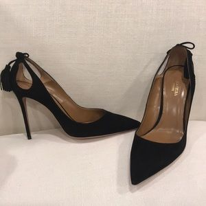 NEW Black Suede Aquazzura Forever Marilyn pumps